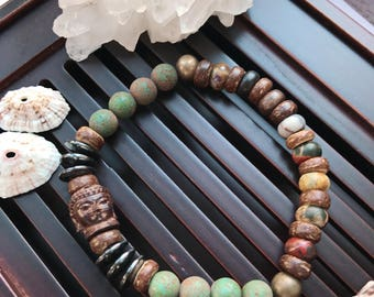 Picasso Jasper/Black Hematite Yoga Mala Beaded Bracelet. Buddha Bracelet. Healing Natural Gemstone Protection Mala. Meditation Bracelet.