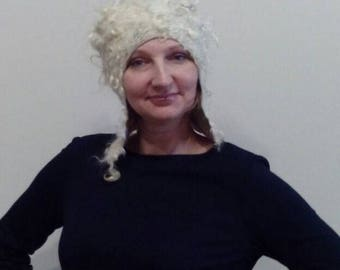 Felted winter curly warm cap with small ears of white and cream color for the stylish lady Designer felted wool cap with ear-flaps