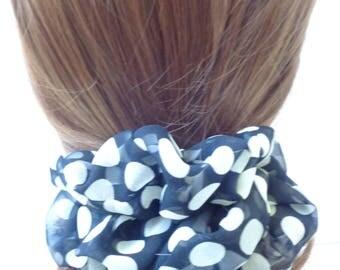 Black and white  hair Scrunchie, black Chiffon hair scrunchie ,Chouchou, hair accessories, handmade by ScrunchiesCo