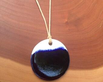 Indigo Dipped Large Circle Porcelain Pendant