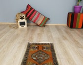 Turkish Runner Rug Oushak Rug Small  Low Pile Handwoven Rug Turkish Antique Rug 1.6 x 3.2 ft  T20-