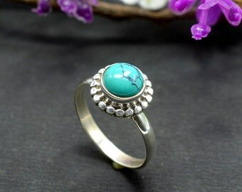 Natural Turquoise Round Gemstone Ring 925 Sterling Silver R39