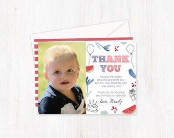 4th July thank you cards, child thank you card, birthday thank you, photo thank you card, party thank you cards, 25 thank you cards, USA