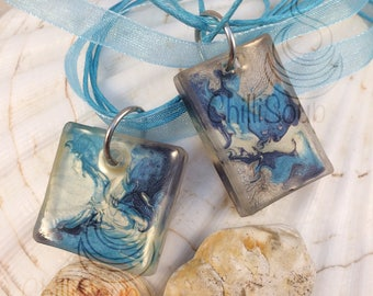 Sea and sky multicoloured pendant - organza ribbon necklace - gift for her - Christmas - blue necklace - Christmas