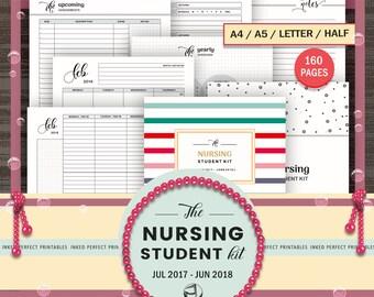 Nursing Student Planner - 2017 to 2018 Student Nurse Planner - Nursing School Planner - Medical Student - A4, A5, Letter, Half Letter