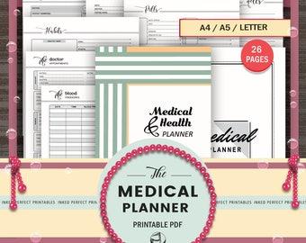 Medical Planner , Health Planner , Medical Planning Kit , Planner Binder , Printable Planner , Personal Fitness , Doctor Visits, A5 Planner