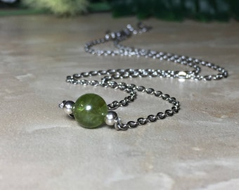 Genuine Peridot Necklace, August Birthstone, 7mm Peridot Necklace, Peridot Choker, Healing Crystal, Purification, Gift For Her