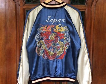 Rare!! Vintage SUKAJAN japanese dragon eagle embroidery souvenir yakuza jacket/blue/large size