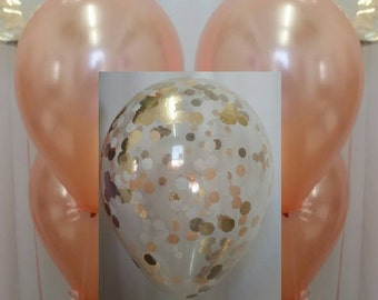 Rose Gold Balloons, Rose Gold Confetti Balloons, Rose Gold Balloon Package, Balloon Decorations.