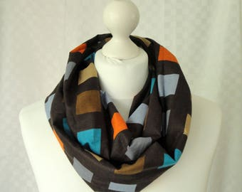 Cotton check print infinity scarf, Circle scarf, Multi colour check print scarf, Print scarf, Scarf for her, Fashion scarf