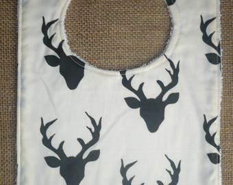 Handmade Toddler Food Bib - Buck Forest Night