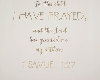 1 Samuel 1:27 gold foil Bible verse quote