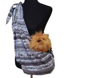 Pet sling, dog sling, adjustable dog sling carrier, reversible dog sling, gray and white dog sling, tie dyed dog sling, small dog carrier