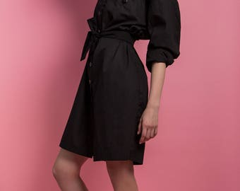 Shirt dress 'Big Black' black cotton