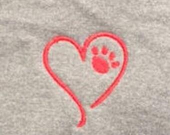 Dog Paw Heart Zip Up Hoodie