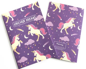Unicorn Notebook Journal - Blank notebook - Cute journal - Stationery - Blank Journal - Notebook set - Unicorn - Rainbows - Journal Diary