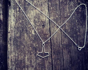 Petite Mjolnir Thors Hammer Eco Sterling Silver Necklace