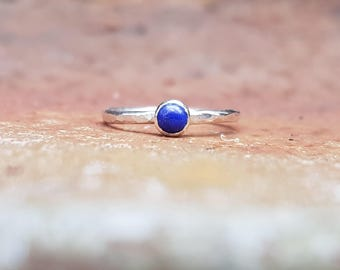 Sale - Size 6 1/4 Lapis Lazuli & Hammered Eco Sterling Silver Ring