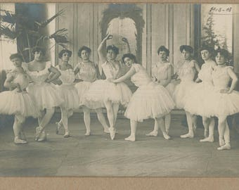 French Ballerina Parlor Portrait || 1900 || Turn of the Century | Historical Ballet | Victorian Dancing Ladies | Antique Photo Postcard |