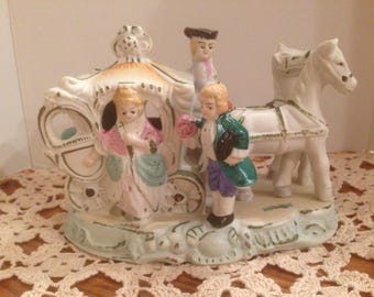 Vintage Ceramic Horse & Carriage with Colonial Man and Woman/Made in Japan