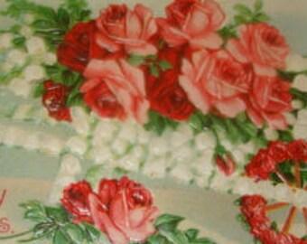 Cute Vintage Floral Postcard (Roses,Fantasy)