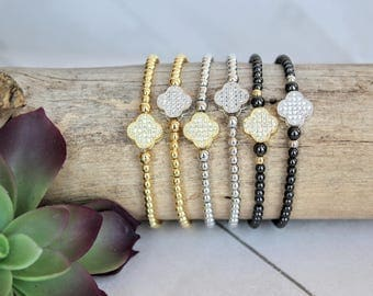 Gold or Silver Four Leaf Clover Charm Bracelets, Choose from 3mm Gold, Silver or Gunmetal Beads, Stretch Bead Bracelets, Cloverleaf Jewelry