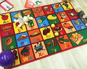 Handcraft Rugs Kids Rugs Educational/Play Time Abc Food And Fruits. Non Slip