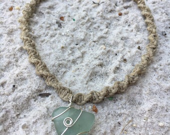 Hand made sea glass & hemp necklace