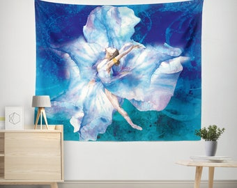 Watercolor Tapestries, Watercolor Wall Tapestry, Watercolor Wall Decor, Blue Wall Tapetsry, Art Wall Tapestry, Boho Chic Tapestry