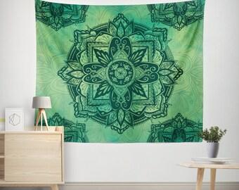 Bohemian Tapestry,Mandala Tapestry Wall Hanging,Spiritual Bohemian Decor,Bohochic Decor,Bohemian Wall Tapestry,Boho Tapestry,Green Mandala