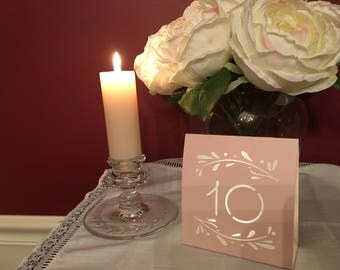 Rustic BLUSH, GRAY or PINK table number luminaries