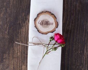 10 Rustic wedding place cards, Wood name cards, Wood escort card, Personalized place cards, Wood slice place card, Wood printed table card
