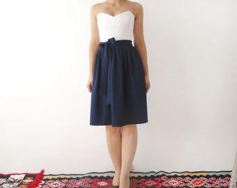Navy Bridesmaid Dress, navy dress, Party dress, lace dress, white lace dress, contrast dress, white and navy dress, bridesmaid dresses