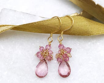 Pink and Gold Drop Earrings | Pink Drop Earrings | Pink Tourmaline | Gold Earrings | Gold Gemstone Earrings | Small Earrings | Gift for Her