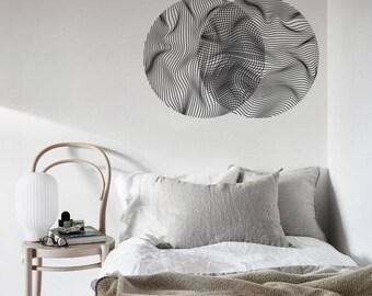 GEOMETRIC WAVY LINES Optical Illusion Overlapping Vinyl Wall Decal Mandala