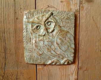 NEW Square Owl tile in copper patina glaze. Hand pressed and sculpted terra cotta clay tile with unique incised drawn patterns.