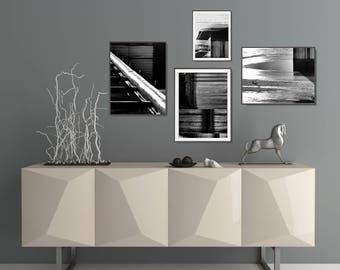 4 Black And White Prints Set, Industrial Decor Ideas, Large Geometric Wall Decor, Modern Living Room Black And White Poster Set, XL Wall Art