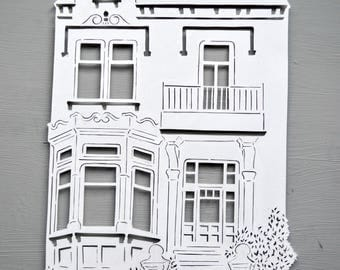 Personalised House Papercut, Handcut Home Cut Out Art Gift,Building Housewarming Gift, New Home