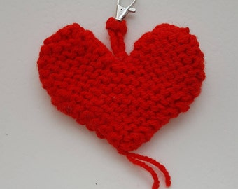 Handmade, Red heart shaped, Bag, Zip, Key decoration, Designed, Hand knitted, Double sided, Lobster swivel clip, Gift, Treat for a loved one