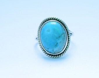 TURQUOISE SILVER RING, Turquoise Ring, Turquoise Stone Ring, 92.5 sterling Silver Ring, Handmade Ring, Gypsy Ring ,  19
