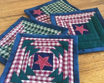 Log Cabin Variations Quilted Coasters, Set of 4