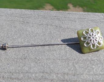 Handmade Silver Flower Stick Pin