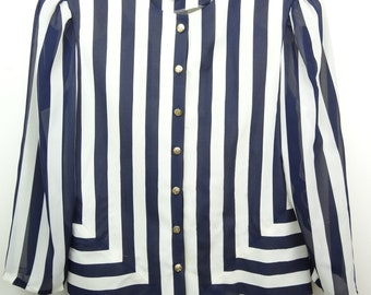 Vintage 80s Womens Button Down Shirt Striped Shoulder Pads Retro Leslie Fay Size 18 Costume Theme 1980s Party