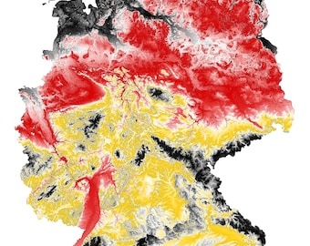 Germany Topographic Map in German Flag Colors