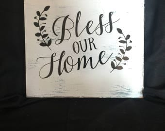 Bless Our Home distressed wooden sign