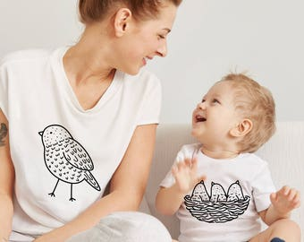 MATCHING SET- 2 Tees- Mama Bird Baby Bird / Mommy and me / Baby Tees / Unisex Tee / Nature Tees / Toddler Tee / Kids Tee / Hipster / Mom