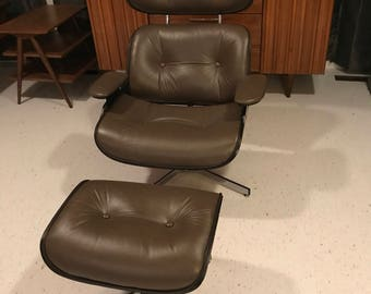 eames style lounge chair and ottoman vintage restored