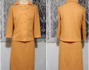 1960s Mod Jackie O Peach Double Breasted Career Office Suit and Skirt Set ILGWU Tag Vintage Size 10 Free USA Shipping