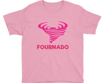 Fournado Tornado Four Year Old 4th Birthday Gift Idea Outfit Nature Outdoors Girls Fourth Bday Youth Short Sleeve T-Shirt
