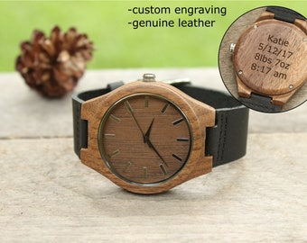 New Dad Gift from Baby to Dad, Baby Stats, Gift from Daughter, Unique New Baby Gift from Son Birth Announcement Husband Gift Wooden Watch